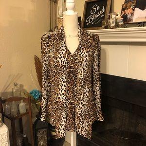 WHBM Leopard Print Career Shirt